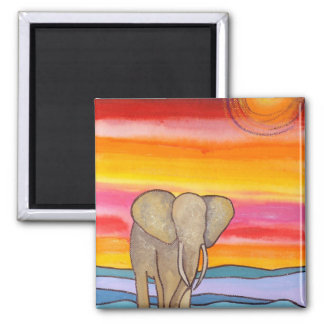 Elephant at Sunset in Africa (K. Turnbull Art) Square Magnet