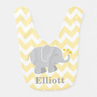 Elephant Baby Bib | Yellow and Gray