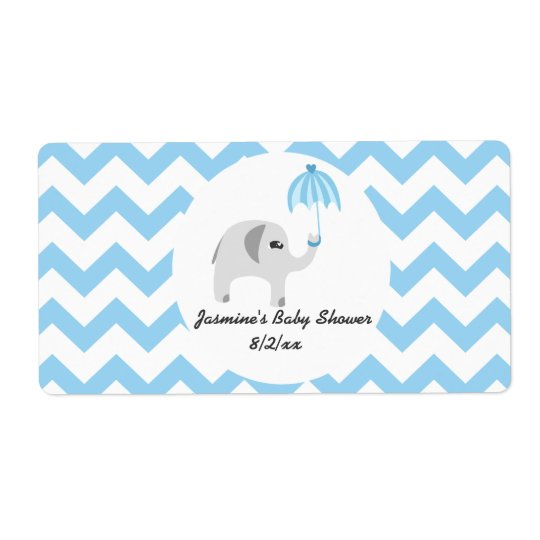 Elephant Baby Blue Umbrella Water Bottle Labels