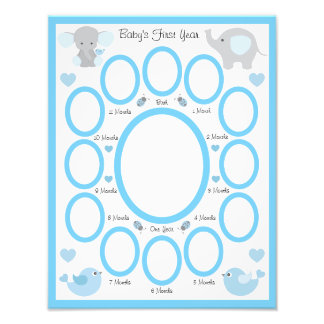 Elephant Baby Boy Birth Stats First Year Collage Photo Print