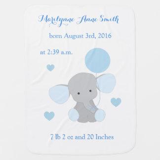 Elephant Baby Boy Stats Sky Blue Gray Chevron Baby Blanket
