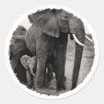 Elephant & Baby Elephant Round Stickers