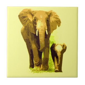 Elephant & Baby Elephant Small Square Tile