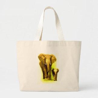 Elephant Baby Elephant Walking Canvas Bag