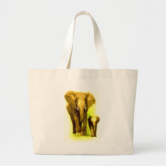Elephant & Baby Elephant Walking Large Tote Bag