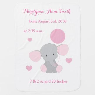 Elephant Baby Girl Birth Stats Pink Gray Chevron Buggy Blankets