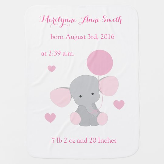 Elephant Baby Girl Birth Stats Pink Grey Chevron