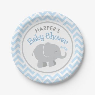 Elephant Baby Shower | Blue and Gray Paper Plate