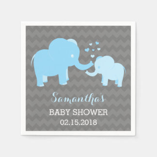 Elephant Baby Shower Blue and Grey Paper Napkins
