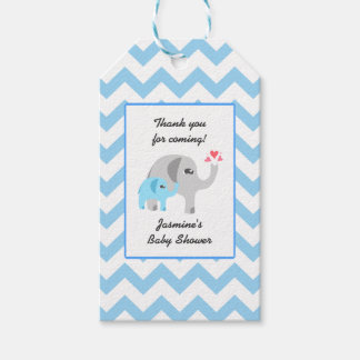 Elephant Baby Shower Blue and White Gift Tags