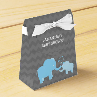 Elephant Baby Shower Blue Grey Tent Favor Box