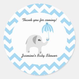 Elephant Baby Shower Blue Umbrella Classic Round Sticker
