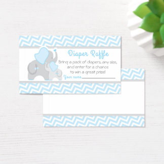 Elephant Baby Shower Diaper Raffle Ticket Blue