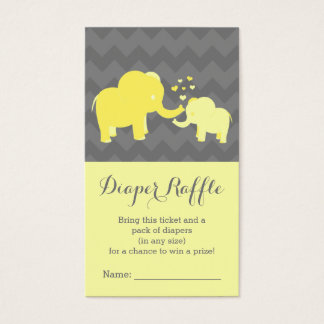 Elephant Baby Shower Diaper Raffle Ticket Yellow