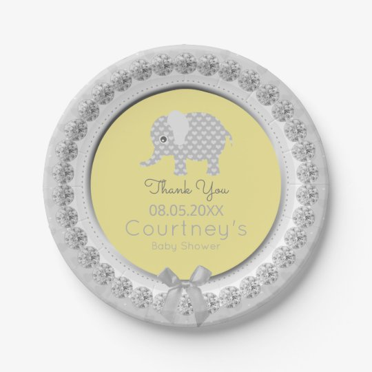 Elephant Baby Shower Elegant Yellow Grey Thank You