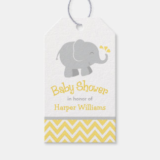 Elephant Baby Shower Favor Tags | Yellow and Gray