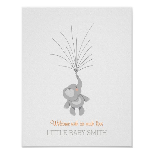 Elephant Baby shower guestbook Orange Boy Girl Poster