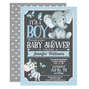 Elephant Baby Shower Invitation, Blue and Grey Invitation