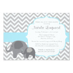 Elephant Baby Shower Invitation, chevron blue boy 13 Cm X 18 Cm Invitation Card