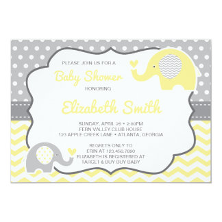Elephant Baby Shower Invitation, EDITABLE COLOR Card