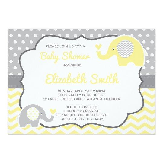 Elephant Baby Shower Invitation, EDITABLE COLOR Card