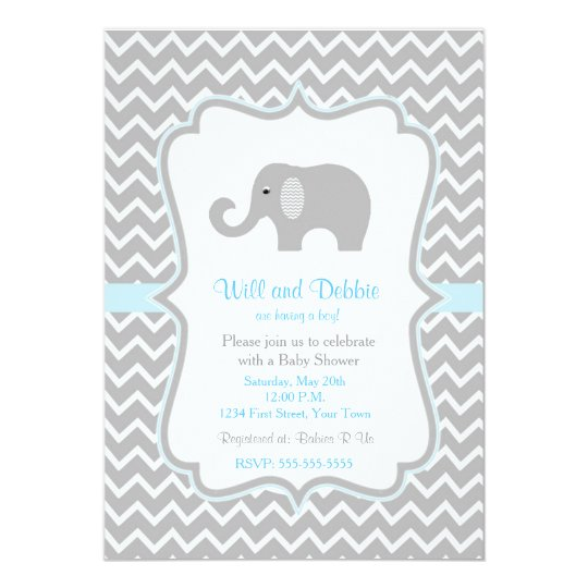 Elephant baby shower invitation for boys