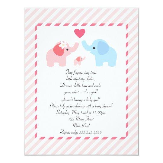 Elephant Baby Shower Invitation for Girls