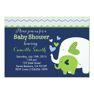 Elephant Baby Shower Invitation in Navy and Green