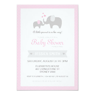 Elephant Baby Shower Invitation - Pink