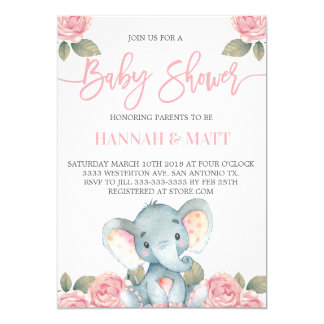 Elephant baby shower invitation pink elephant