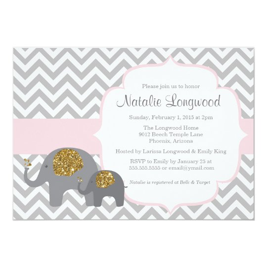 Elephant Baby Shower Invitation, pink gold glitter Card