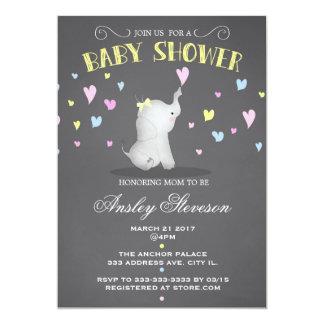 Elephant baby shower invitation, pink hearts card