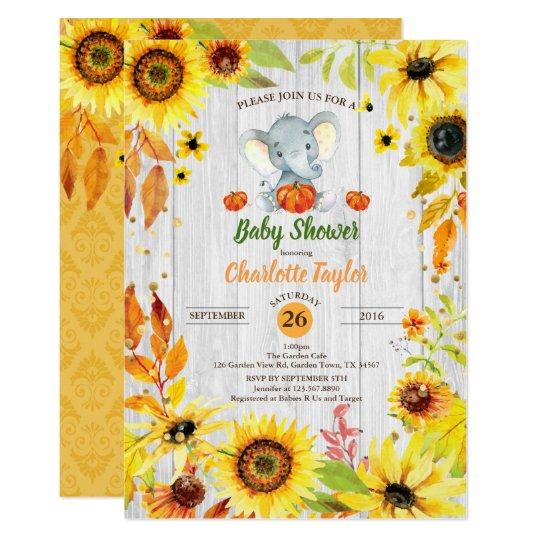 Elephant Baby Shower Invitation Sunflower Fall Zazzle Co Uk
