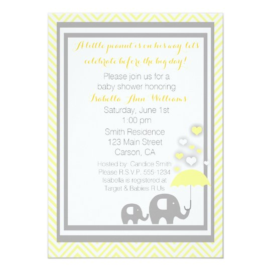 Elephant Baby Shower Invitation- Yellow and Grey Card
