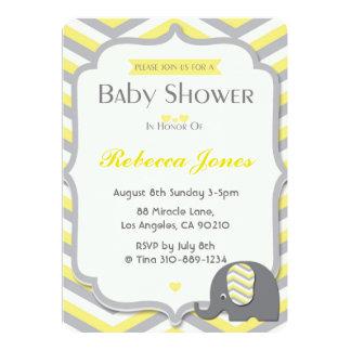 Elephant Baby Shower Invitation Yellow Chevron
