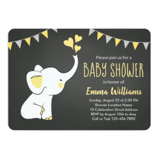 Elephant Baby Shower Invitation Yellow Gray Black
