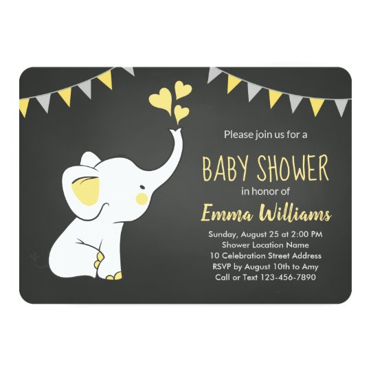 Elephant Baby Shower Invitation Yellow Grey Black