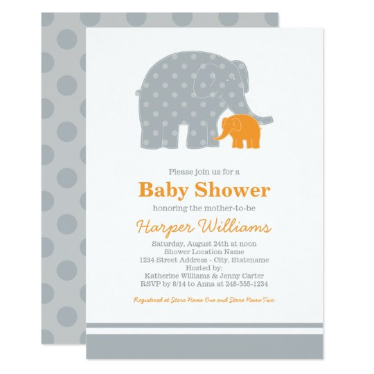 Elephant Baby Shower Invitations | Grey and Orange
