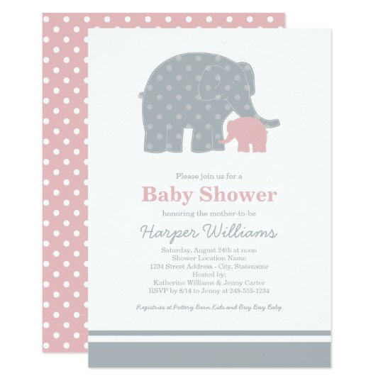 Elephant Baby Shower Invitations | Light Pink Grey