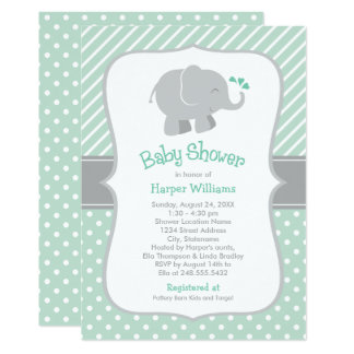 Elephant Baby Shower Invitations | Mint Green
