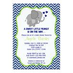 Elephant Baby Shower Invitations Navy Chevron