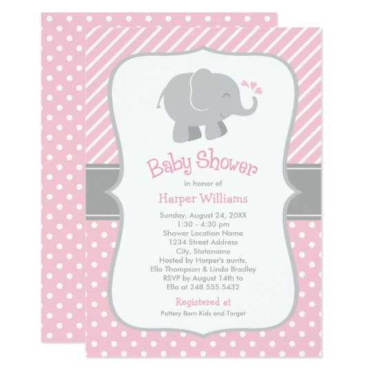 Elephant Baby Shower Invitations | Pink and Grey