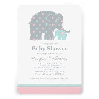 Elephant Baby Shower Invitations Pink Blue Gray