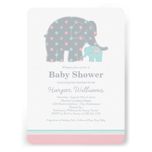 Elephant Baby Shower Invitations | Pink Blue Gray