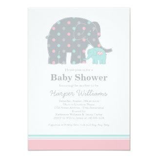 "Elephant Baby Shower Invitations | Pink Blue Gray 5"" X 7"" Invitation Card"