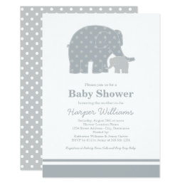 Elephant Baby Shower Invitations | Silver & Gray