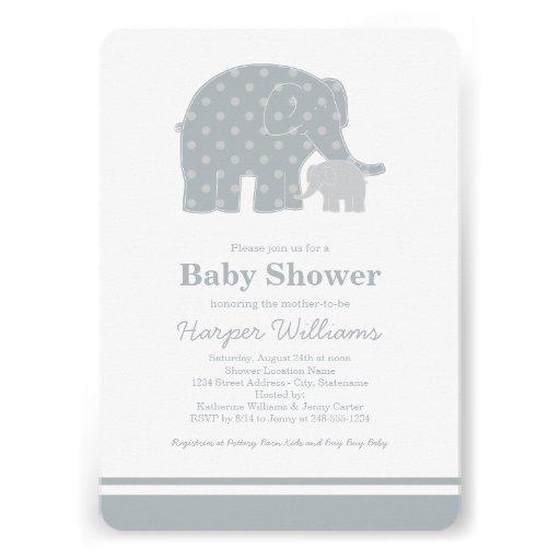 Elephant Baby Shower Invitations | Silver & Gray