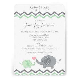 Elephant Baby Shower Invite Green Gray Chevron