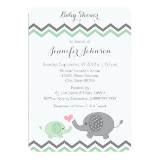 "Elephant Baby Shower Invite | Green Gray Chevron 5"" X 7"" Invitation Card"