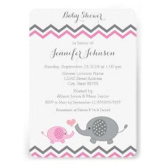 Elephant Baby Shower Invite Pink Gray Chevron
